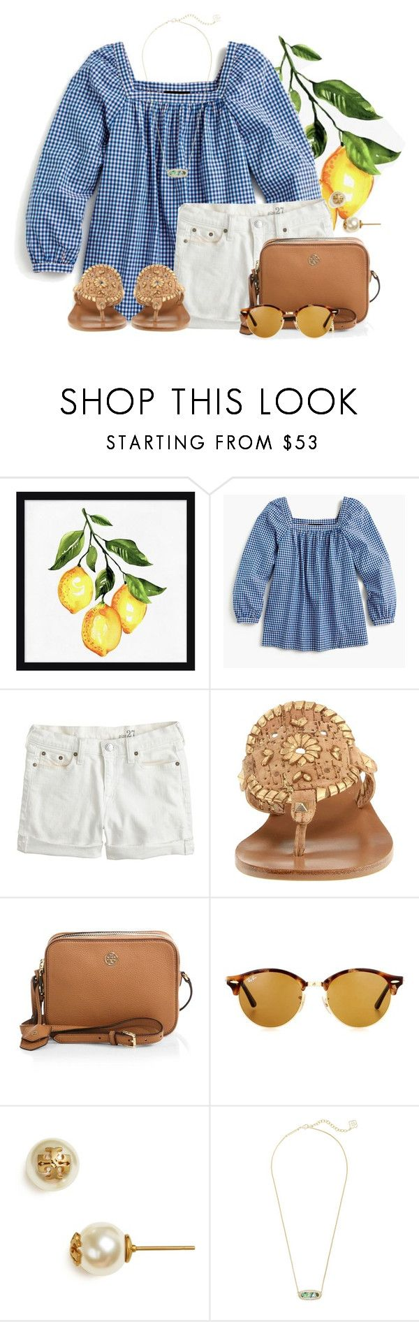 """☀️sun please☀️"" by flroasburn ❤ liked on Polyvore featuring Pottery Barn, J.Crew, Jack Rogers, Tory Burch, Ray-Ban and Kendra Scott"
