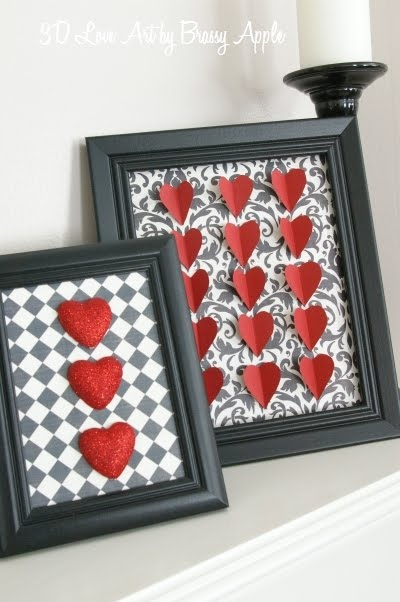 These are SOOO cute! Get a Dollar store frame, paint it black, and wrap the glass in the material and glued the hearts to the material.
