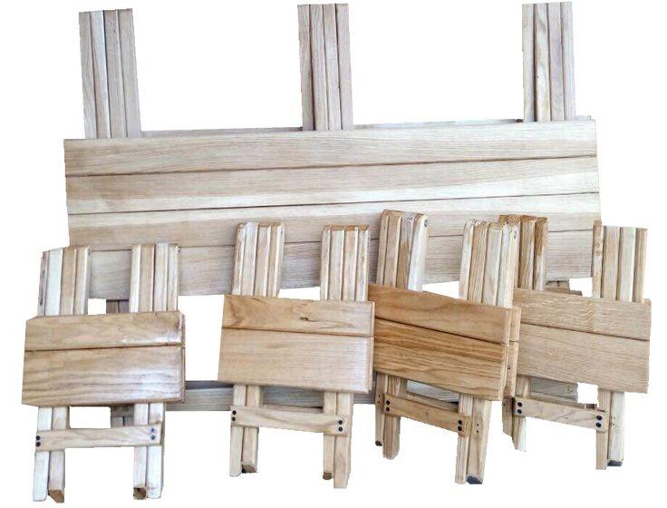 Очень прочный дубовый раскладной стол и складные стулья ручной работы — для пикника, дачи, дома, туризма, охоты, рыбалки, авто-туризма и просто для тех кто в быту предпочитает пользоваться экологически чистыми и безопасными для здоровья изделиями из натуральной древесины. Складные стулья и раскладной стол для пикника – это компактный набор, который легко помещается в багажник легкового автомобиля