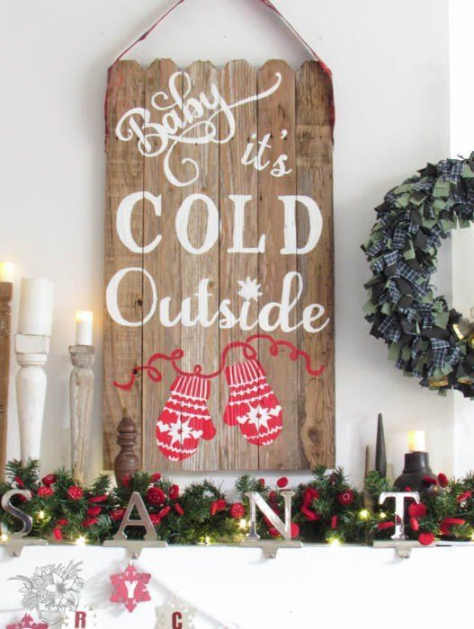 s 14 impossibly pretty christmas decorations using stencils, christmas decorations, seasonal holiday decor, Cozy Mantel Accent