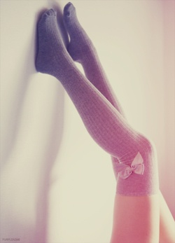 Adorable over knee socks with bow