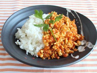 Tofu curry over rice