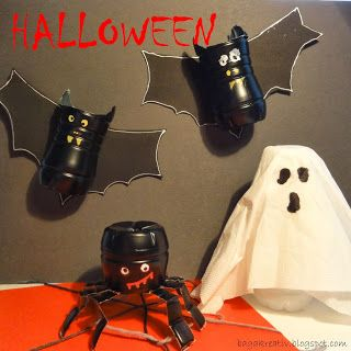 Halloween decoration from plastic yoghurt bottles