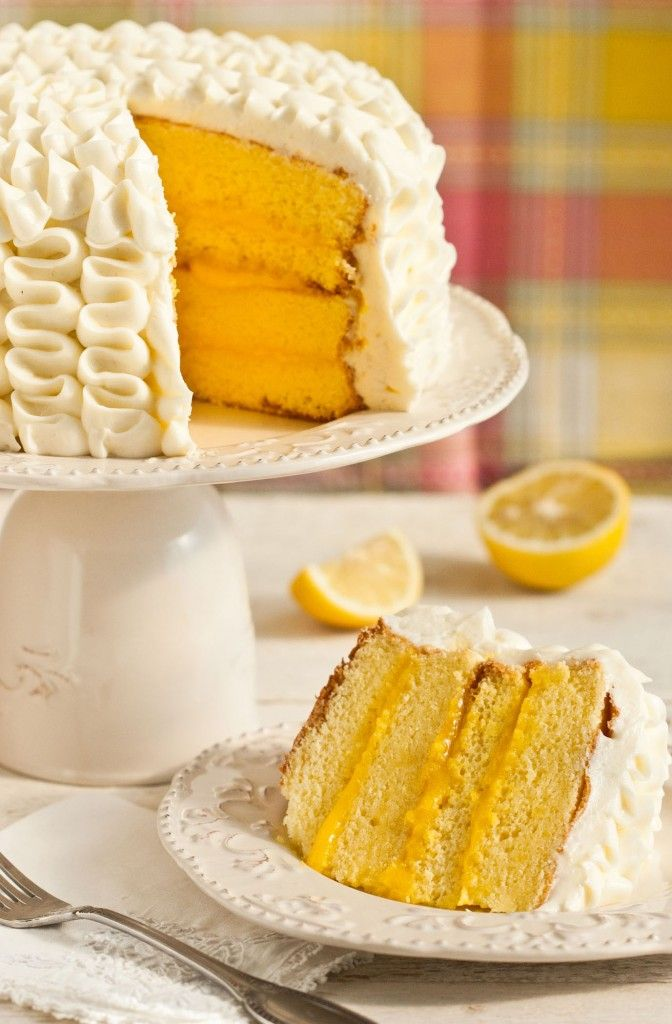 Soft chiffon cake, layered with a velvety lemon curd, smothered in lemon buttercream frosting,
