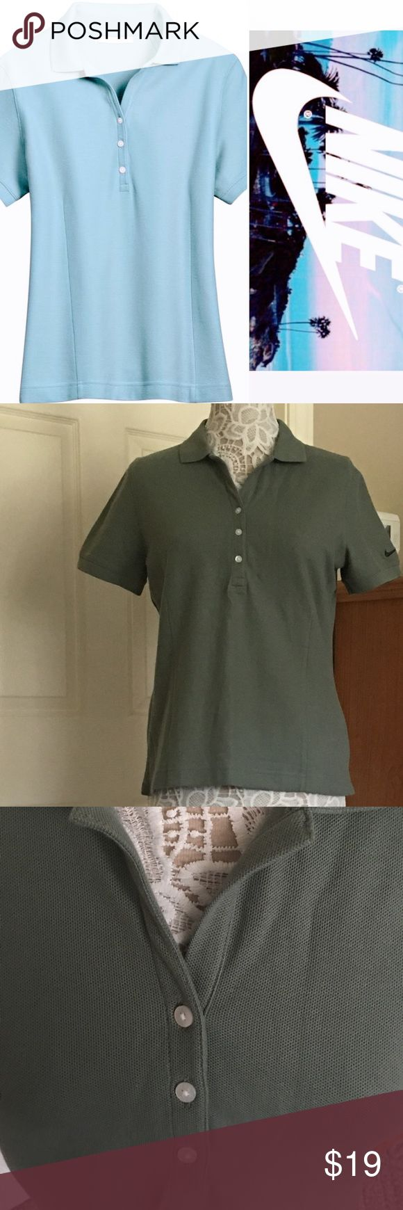 "NIKE GOLF POLO PIQUE KNIT SHIRT #297995 🏌 NWT NIKE GOLF Ladies polo shirt. Color is #348 which is sort of an olive green. See pic 2 for actual color. Approximately 24""L with a 7.5"" sleeve. Comes from a smoke free home 🏡 Bundle & save! Nike Tops"