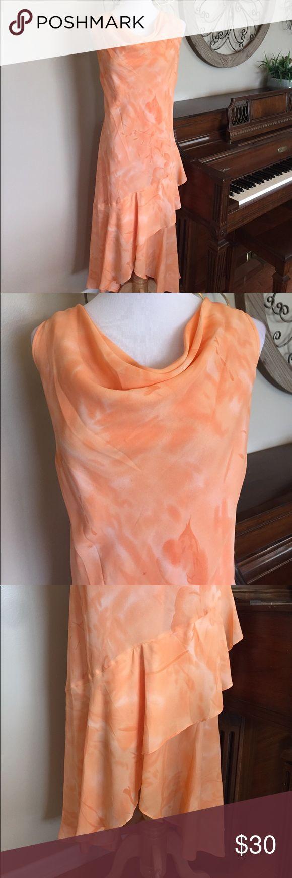 NWT Ashley Stewart Size 18 Orange Drape Neck Dress New! Adorable Dress From Ashley Stewart in Size 18 - Drape Neck & High/Low Bottom Ashley Stewart Dresses High Low