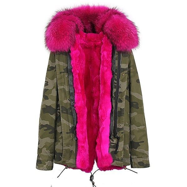 S.ROMZA Women Thick Real Rabbit Fur Parka Hooded Coat Winter Jacket... ($269) ❤ liked on Polyvore featuring outerwear, coats, pink parka, fur-trimmed coat, pink fur trim parka, fur trim parka and pink coats #women'swintercoatsparkas