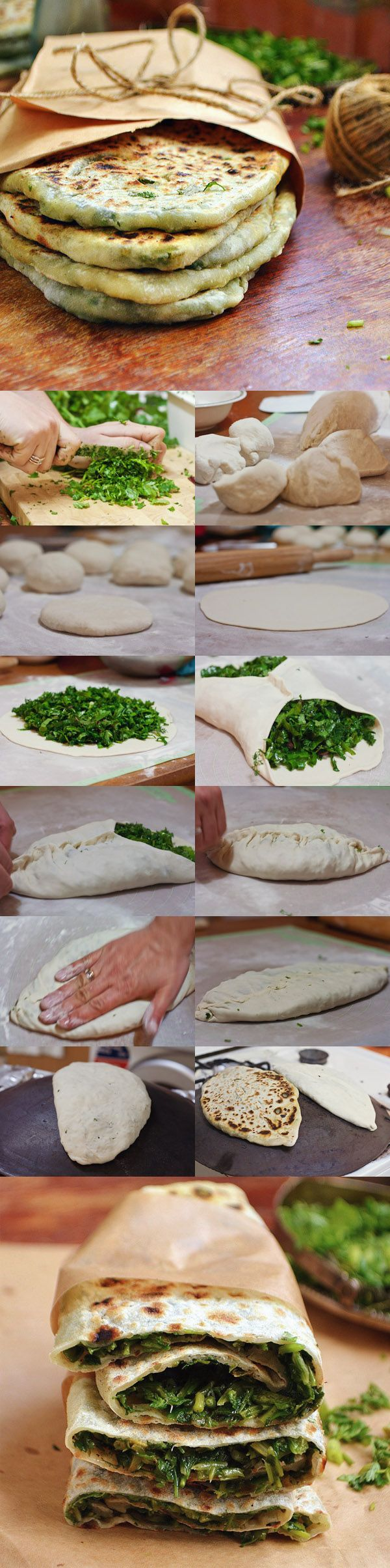 Zhengyalov (Jengyalov) Hats | Armenian flatbread, a specialty of Artsakh, lavash-dough stuffed with foraged local greens #armenianfood #armenianrecipe