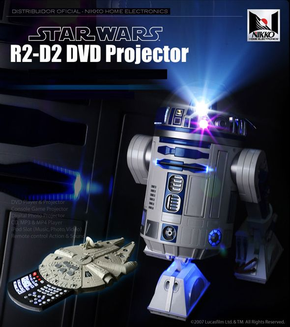 R2D2 life size projector with Millennium Falcon remote. Auxiliary works with almost anything - iPod, Xbox, USB, DVD, you name it.                                                                                                                                                     More