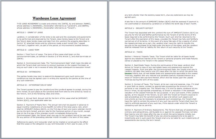 Warehouse Lease Agreement Template business templates Pinterest - business lease agreement