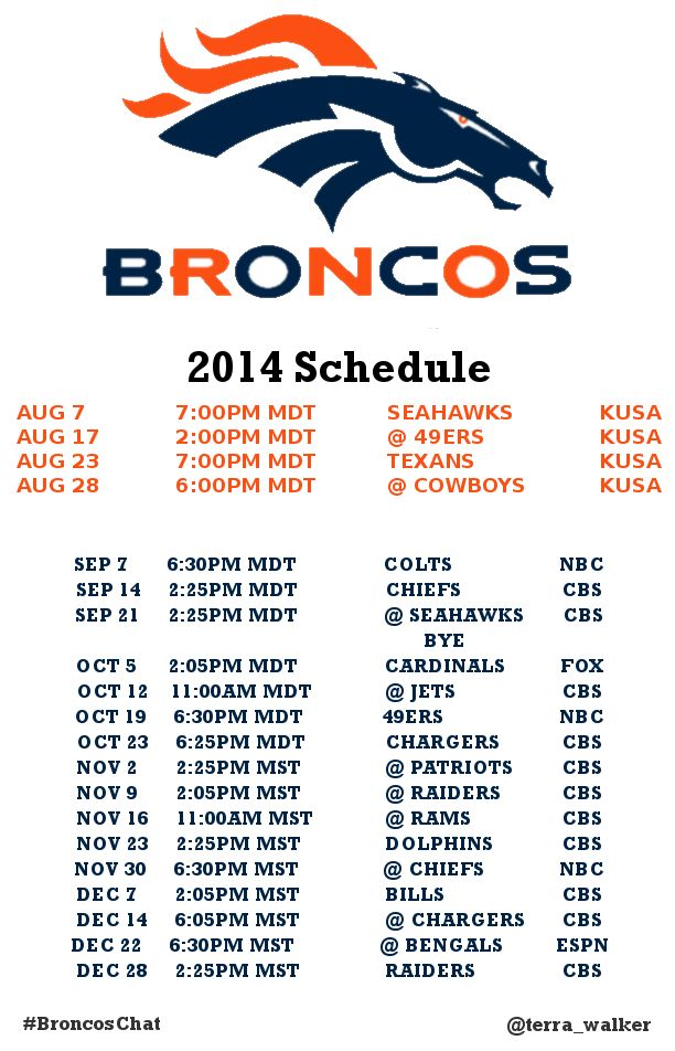 The real hashtag this season is #DENBestFans 2014 Broncos Schedule #Free #Printable  http://terrawalker.us/denver-broncos-2014-schedule/