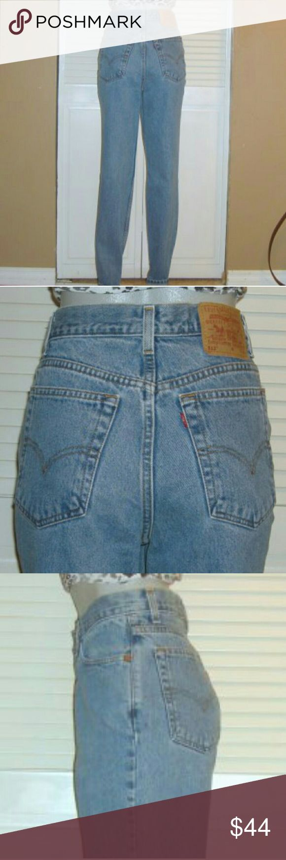 """Vintage Levis 512 High Waist Slim Tapered Jeans This pair of Vintage Levi's Jeans are 32"""" around the waist, 42"""" around the hips, have a 12 1/2"""" rise and a 30 1/2"""" inseam. Levi's Jeans Straight Leg"""