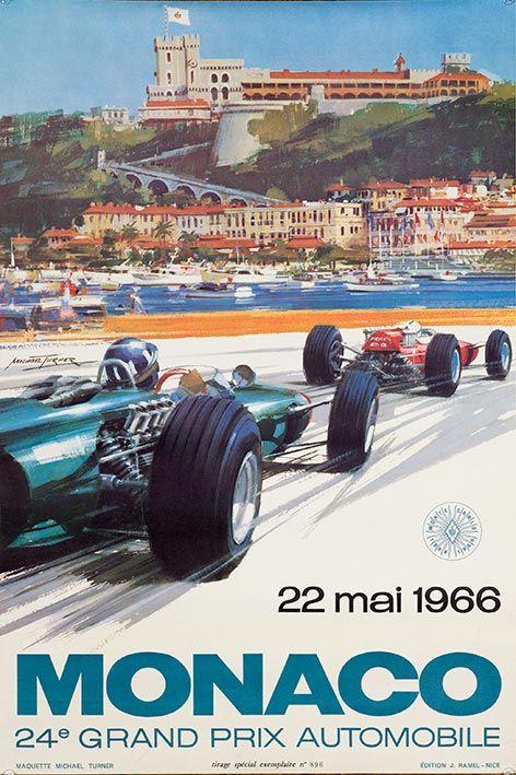 Vintage Monaco poster, Michael Turner - 1966
