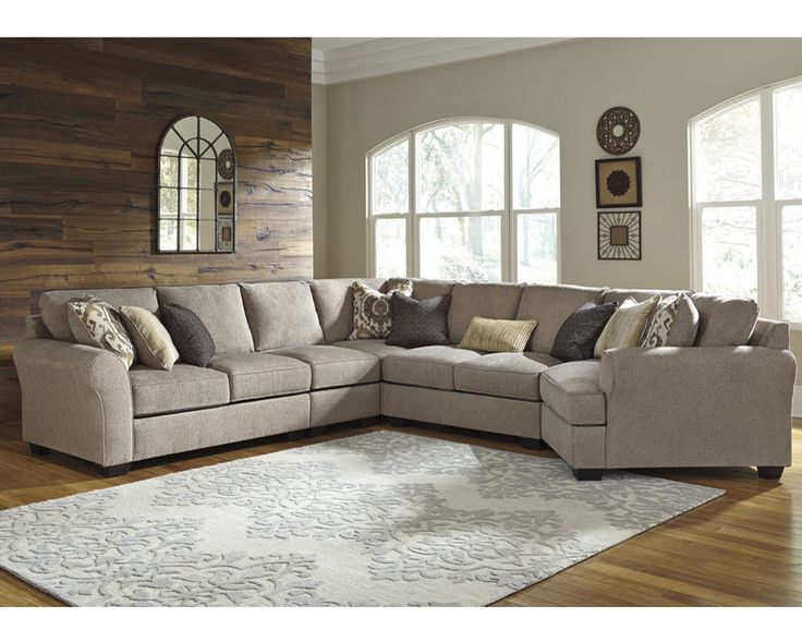 5 Pc. Sectional 39102RAF-75-34-5PC Pantomine-Driftwood, Furniture Factory Direct Fabric Sectionals