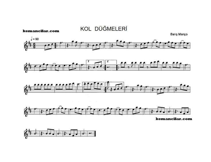 """Barış Manço'nun ünlü şarkısı """"Kol Düğmeleri"""" keman notaları."""