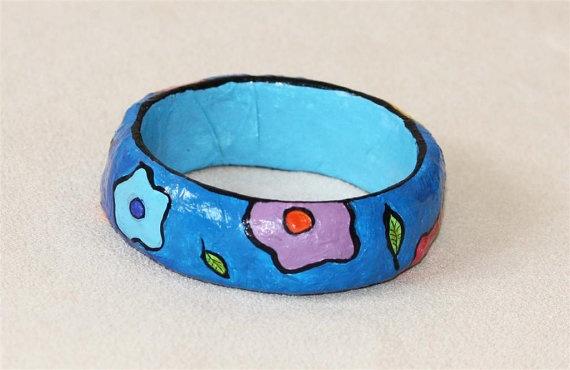Papier mache bracelet flower b moederdag pinterest for How to make paper mache jewelry