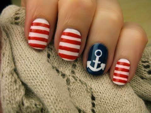 : Nails Art, Nailart, Nails Design, Fourth Of July, Sailors Nails, Beaches Nails, Summer Nails, 4Th Of July, Nautical Nails