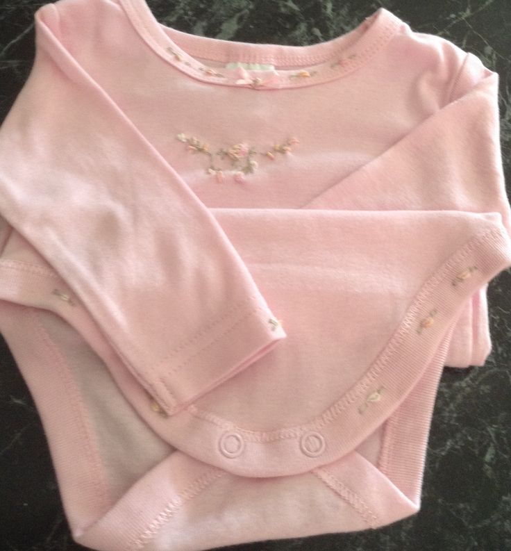 Long sleeve pink hand embroidered onesie. www.etsy.com/shop/Disgifts