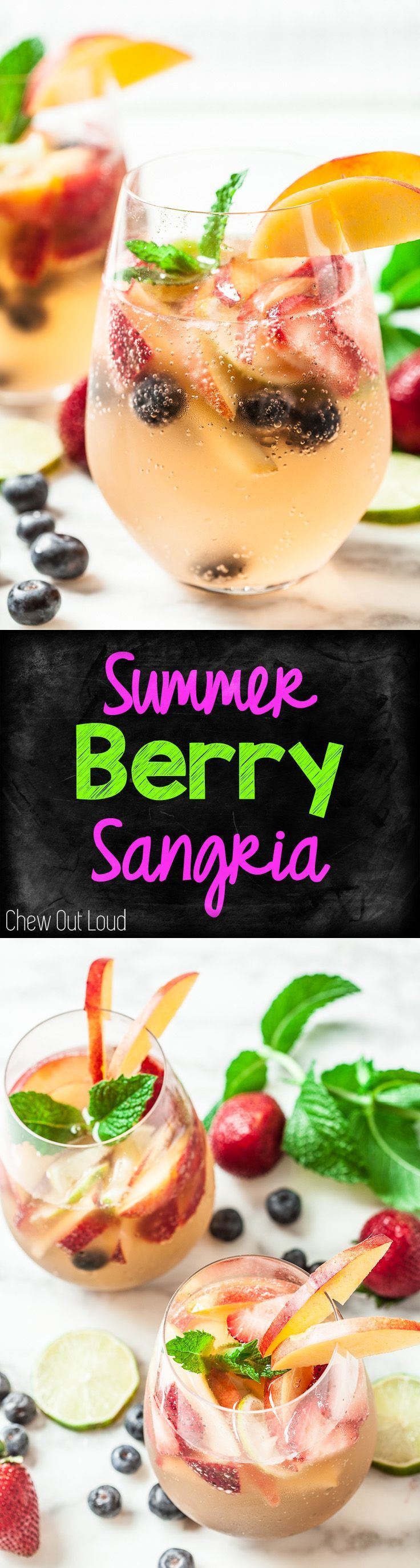 This Summer Berry Sangria is sparkly, berry-full, and refreshing! Needs way less chill time than most sangrias. Quick 'n Easy! #sangria #summer #drink #berry #wine  www.chewoutloud.com