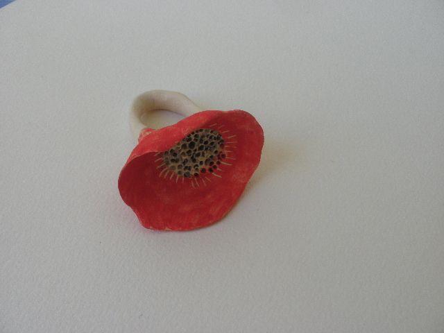 Anna Chronaki- ceramic red flower ring.