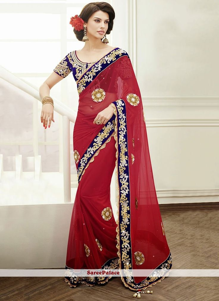 Red Shaded Scallop Border Work Net Saree
