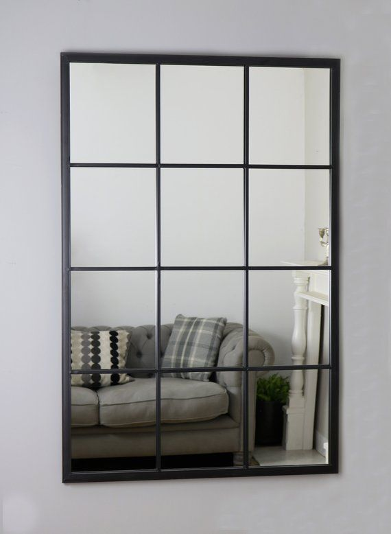 Brooklyn Black Industrial Window Mirror 48 X 32 120cm X 80cm The Brooklyn Is A Striking Industrial Metal Mirror Industrial Windows Window Mirror Mirror Wall