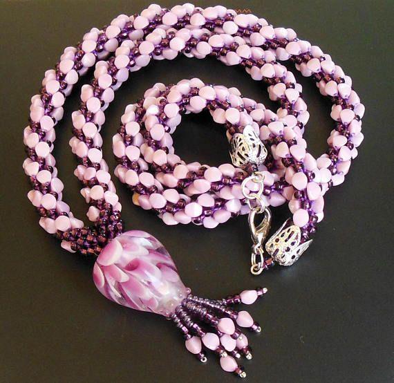 #Crochet #Rope #long #flower ace #Czechglassbeads #pinch #Pink #Purple #Lampwork #Flower #pendant  #tassel #beadwork  #oneofakind aceforWomen #Oneof a kind