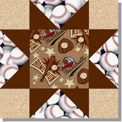 BASEBALL BROWN HOME RUN Precut Quilt Kit. Would be great with orange and black for the giants.