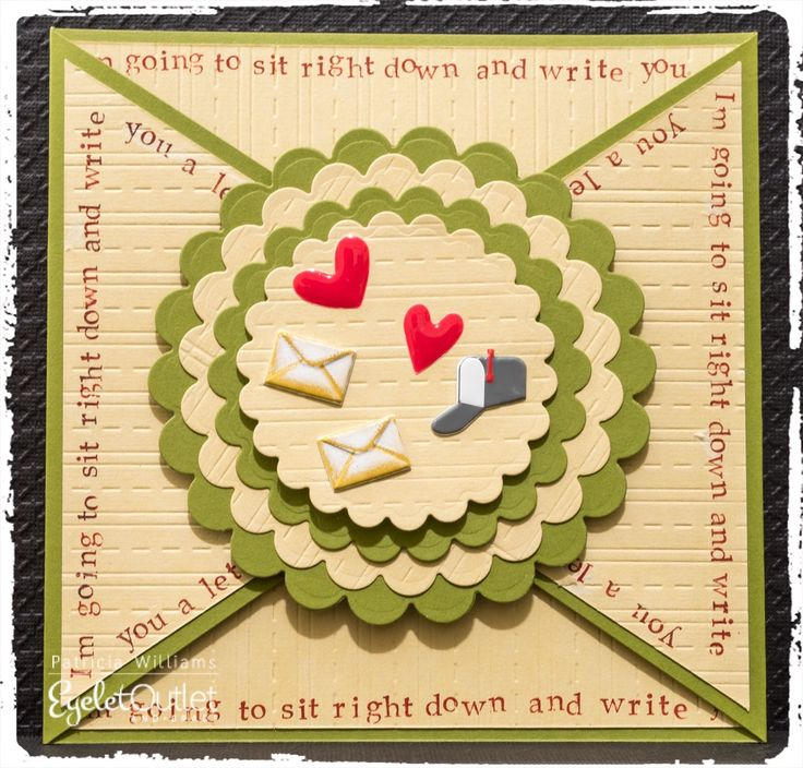 """I'm Gonna Sit Right Down and Write You A Letter!"" #eyeletoutlet #cards #papercrafts"