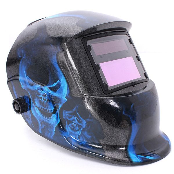 Solar Auto Darkening Welding Helmet Arc Tig Mig Grinding Welder Mask. Description :      Blue Skull Solar Auto Darkening Welding Helmet Arc Tig Mig Grinding Welder Mask  Advanced circuit design, it works the moment you start work. When the arc is striked, the observing window darkens immediately.  This welding helmet is suitable for all types of the electro-welding : arc welding, gas shielded welding, etc. except laser welding.  Features :   High strong materials and fire retardant…