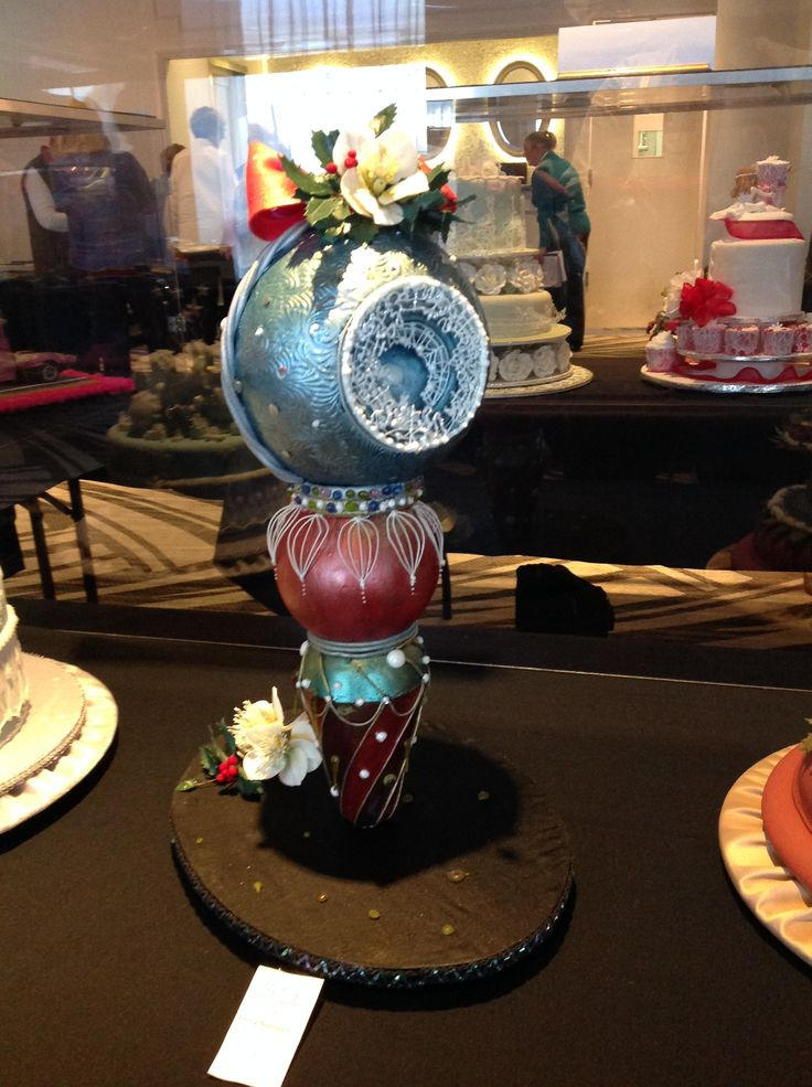 This cake was entered for the 2014 NSW Guild Challenge Three ball cakes with handmade Christmas Roses on the top. Painted using the Rainbow metallic paints