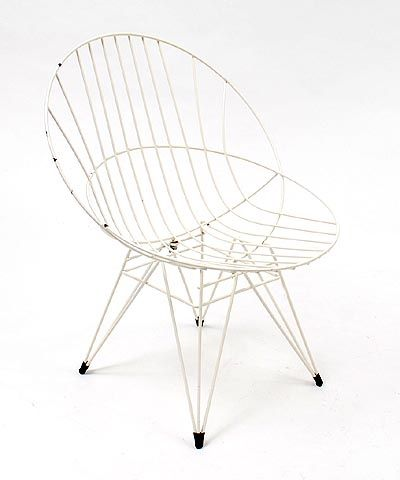 Found on www.botterweg.com - White vinyl coated wire chair Combex design Cees Braakman executed by Pastoe / the Netherlands 1950-1959
