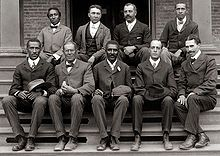 George Washington Carver (front row, center) poses with fellow faculty of Tuskegee Institute in this c. 1902 photograph taken by Frances Benjamin Johnston