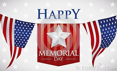 Banner with greeting to celebrate Memorial Day with patriotic bunting design and stars background.