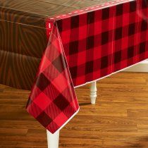 Red And Black Checkered Tablecloth! LumberJack Party Packs, 86617