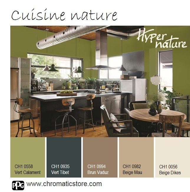 Cette cuisine sublime l'esprit #nature entre le #vert végétal et le brun avec les touches de #bois. Le #métal donne le ton contemporain. www.chromaticstore.com