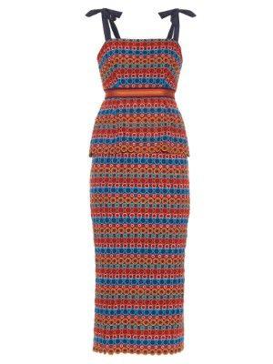 Rosalie eyelet-lace peplum midi dress | Saloni | MATCHESFASHION.COM US