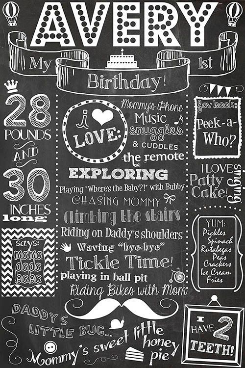 First Birthday Chalkboard Poster Sign Printable / 16x20 or 16x24 /DIGITAL / babys 1st / Babys First Birthday / Plus FREE Web File.... fun customizable first birthday milestone printable keepsake!!