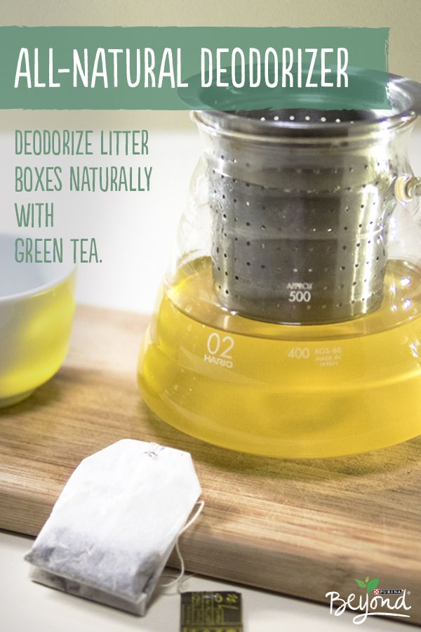 Deodorize pet smells naturally, by simply breaking open a green tea bag and sprinkling tea leaves into your cat's litter box.