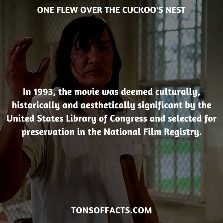 In 1993, the movie was deemed culturally, historically and aesthetically significant by the United States Library of Congress and selected for preservation in the National Film Registry. #oneflewoverthecuckoosnest #movies #interesting #facts #fact #trivia #awesome #amazing #1 #memes #moviefacts #movietrivia #oneflewoverthecuckoosnestfacts #oneflewoverthecuckoosnesttrivia