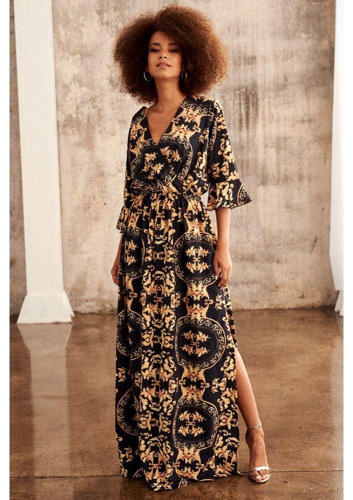 5476115a Sukienka maxi gold barocue print | Clothes | Sukienka, Sukienki i Styl