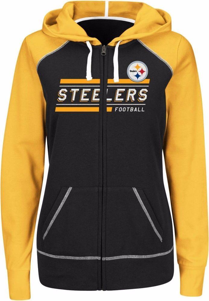 d2189777e NWT  55 NFL Women s Jacket Pittsburgh Steelers Colorblock Hoodie Yellow  Black  NFL  PittsburghSteelers