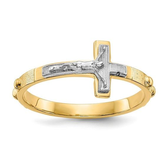 Sideway Crucifix Cross Ring Sterling Silver 925 Best Price Jewelry Selectable