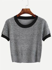 Strick T-Shirt mit Kontrastrand in grau – Rike Sch