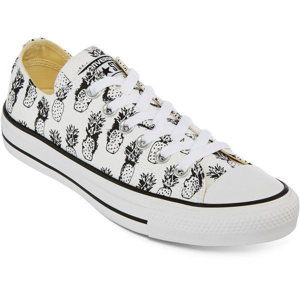 Converse Chuck Taylor All Star Pineapple Sneakers ($50) ❤ liked on Polyvore featuring shoes, sneakers, white trainers, pineapple shoes, converse shoes, lace up sneakers and converse trainers