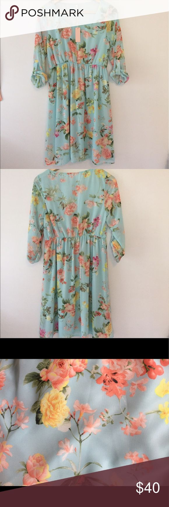 Pink Blush floral maternity dress NWT! Gorgeous floral maternity dress. Super comfortable and  flowy. Sleeves are sheer and 3/4 length. Perfect baby shower dress! 25 inches from bust to hem. NWT never worn. Pink Blush Dresses Midi