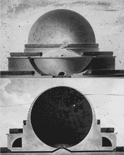 """Cenotafio di Newton, Étienne-Louis Boullée.  Progetto. """"« Nel progetto di un cenotafio per Newton, centrato su un enorme sfera circondata da tre file di cipressi su alti basamenti, Boullée celebrava la scienza sperimentale attribuendo all'eroe della nuova cosmologia un mausoleo che presuppone e moltiplica quelli di Augusto e di Adriano"""" (Salvatore Settis, 2004)"""