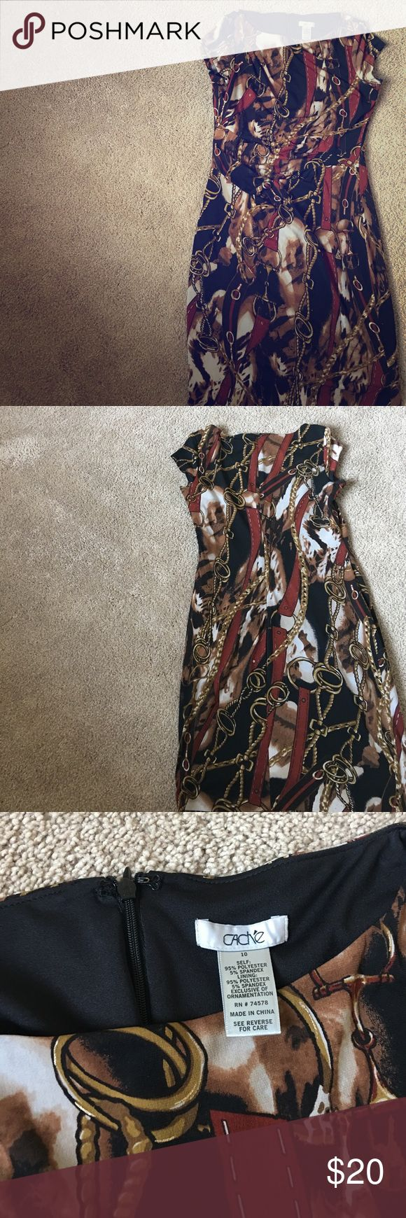 Copper, brown, and Gold CACHE fitted dress Falls at or right above the knees, fitted to the body, short sleeve dress. Perfect for dinner dates, graduations, or any special event! Cache Dresses