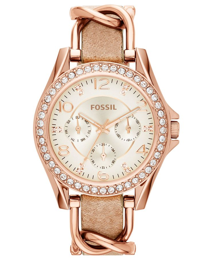 Fossil Women's Riley Rose Gold-Tone Chain and Bone Leather Strap Watch 38mm ES3466 - Women's Watches - Jewelry & Watches - Macy's