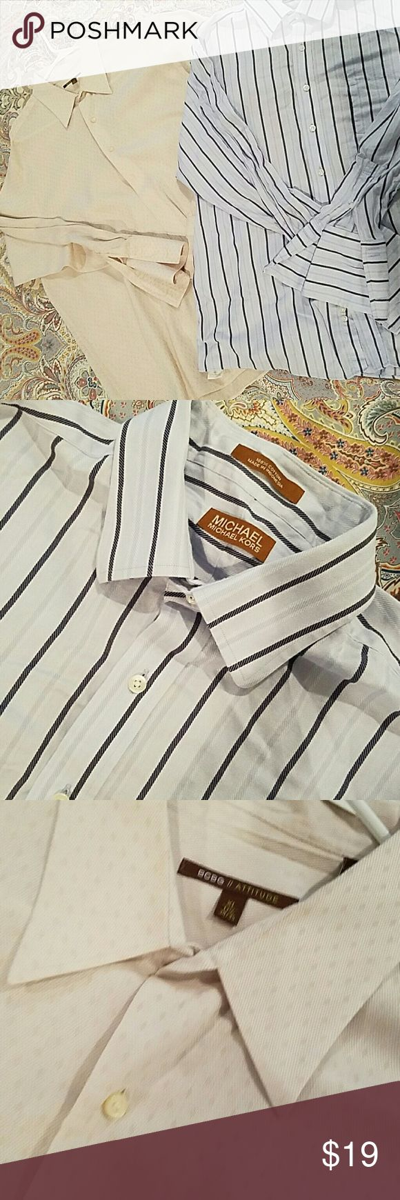 Bundle of designer men's dress shirts!!! BCBG cream shirt with diamond pattern.  Michael Kors blue striped.  Both GUC.  Cream is straight from dry cleaners!  Both with french cuffs but no cufflinks.  Size XL 17 1/2 Shirts Dress Shirts